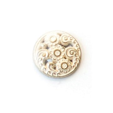 Flowers With Cutouts; White Brass Metal Button