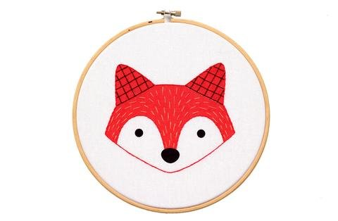DIY Embroidery Kit Fox Cub Hoop Art Kit