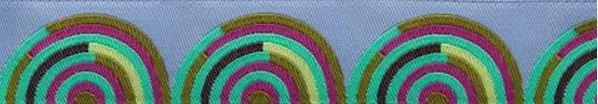 Fuchsia & Mint on Grey Hypnotizer  -  Renaissance Ribbon