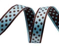 Aqua/Brown polka dot ribbon 3/8 inch
