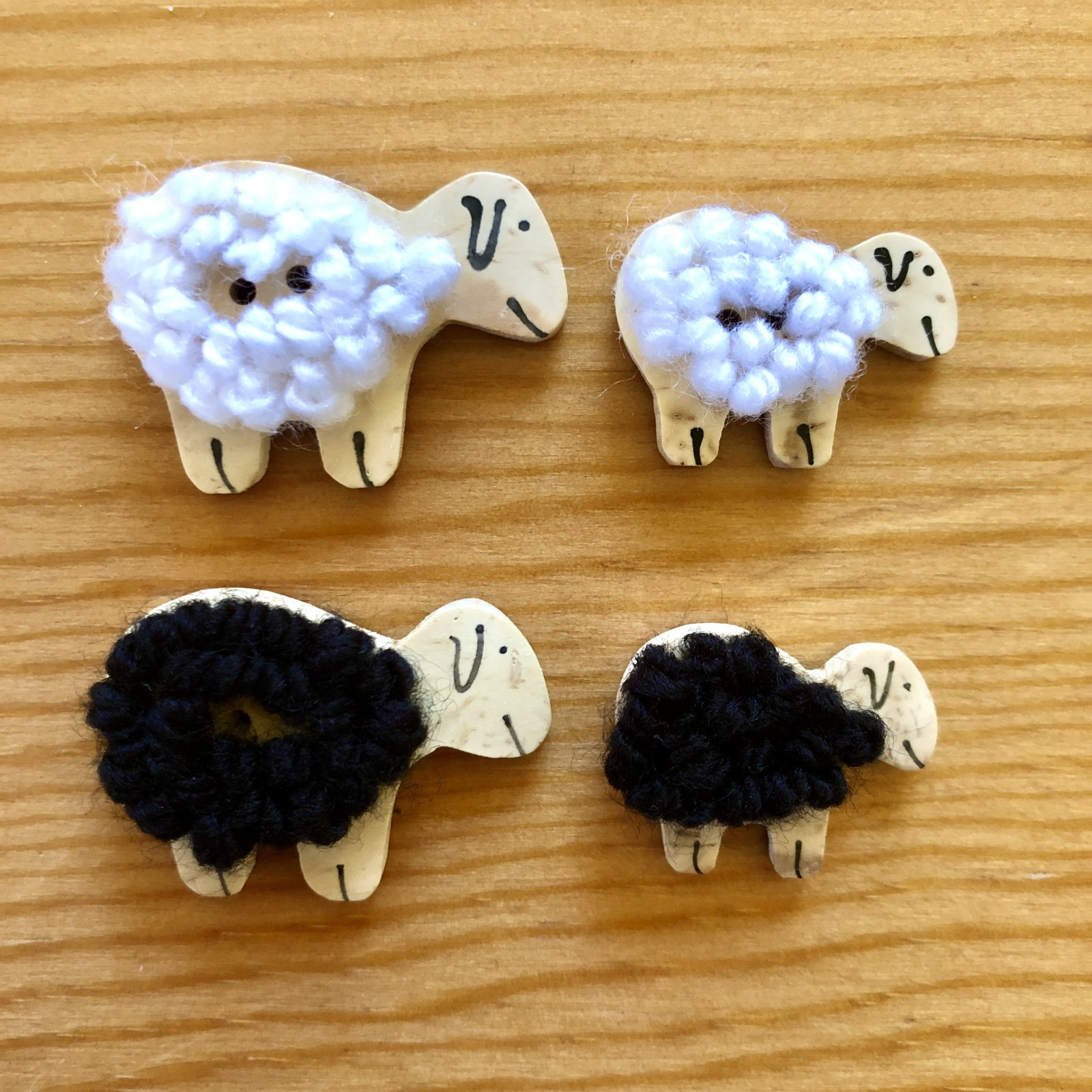 Sheep Buttons with wool