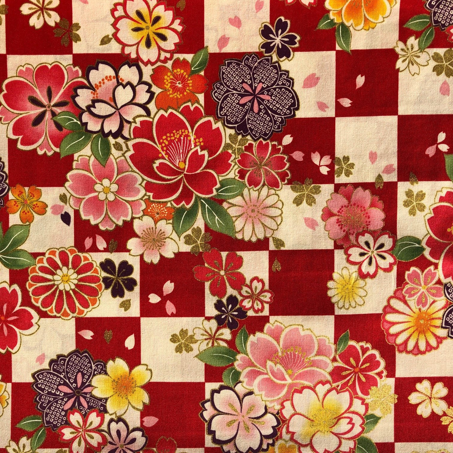 Japanese Flower Check by Kokka  - Red