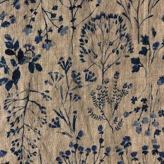 Blue Floral Cotton Sheeting - Seven Islands
