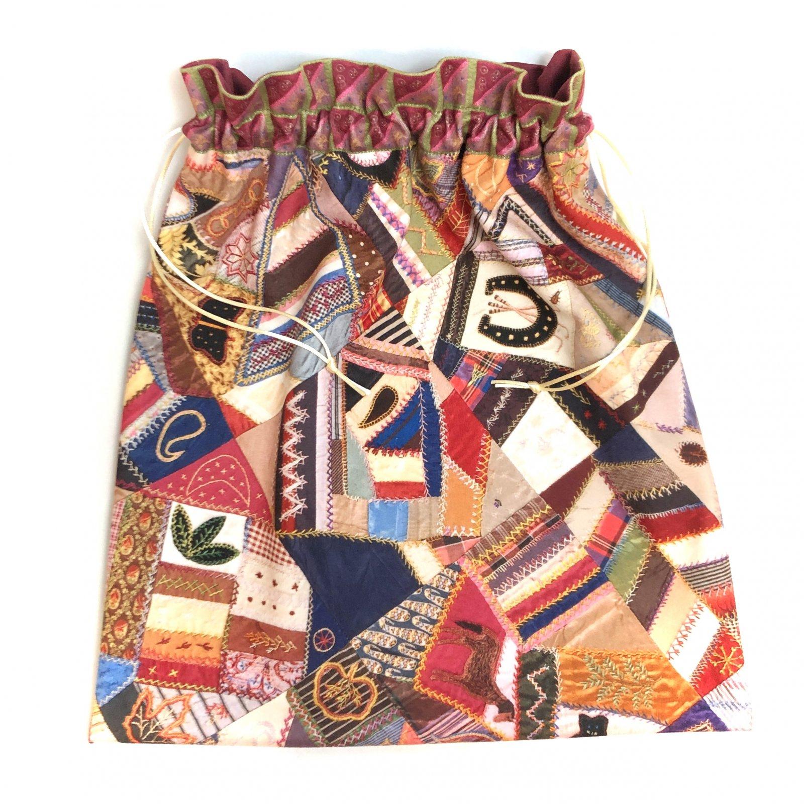 Nostalgic Crazy Quilt - Makers' Exclusive Drawstring Project Bag