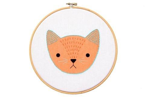 DIY Embroidery Kit Kitten Hoop Art Kit