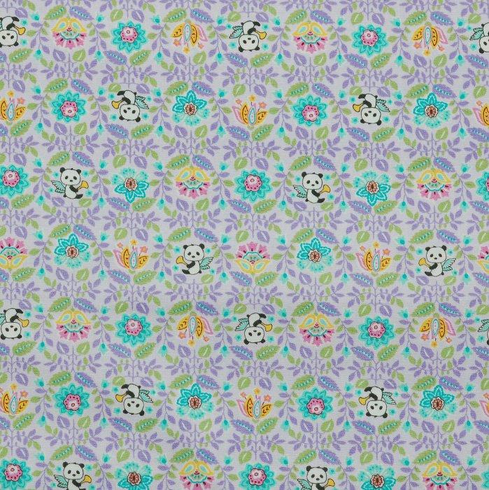 Angel Pandas on Lavender Kobayashi Poplin Fabric 45 wide - Seven Islands