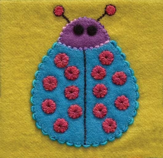Ladybug Pre-Cut Block - Sue Spargo