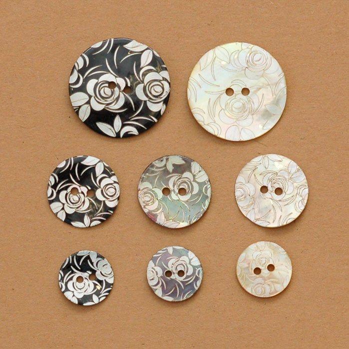 Laser Etched Roses Shell Button