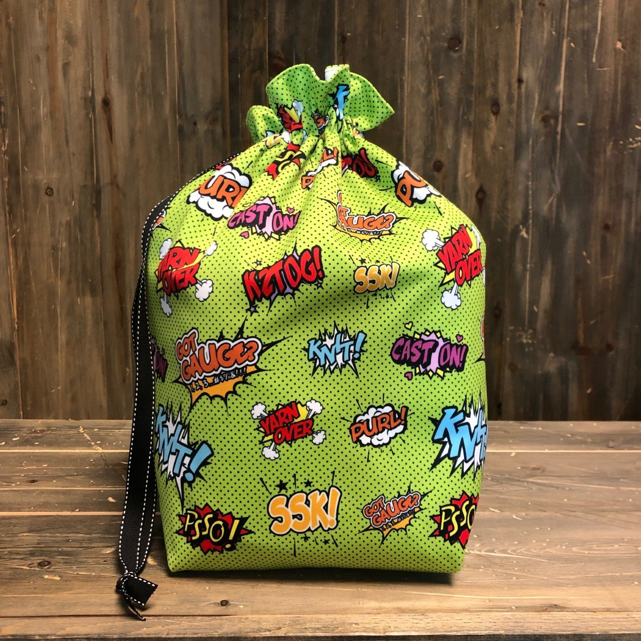 Lime Comical Knitters  - Makers' Exclusive Project Bag