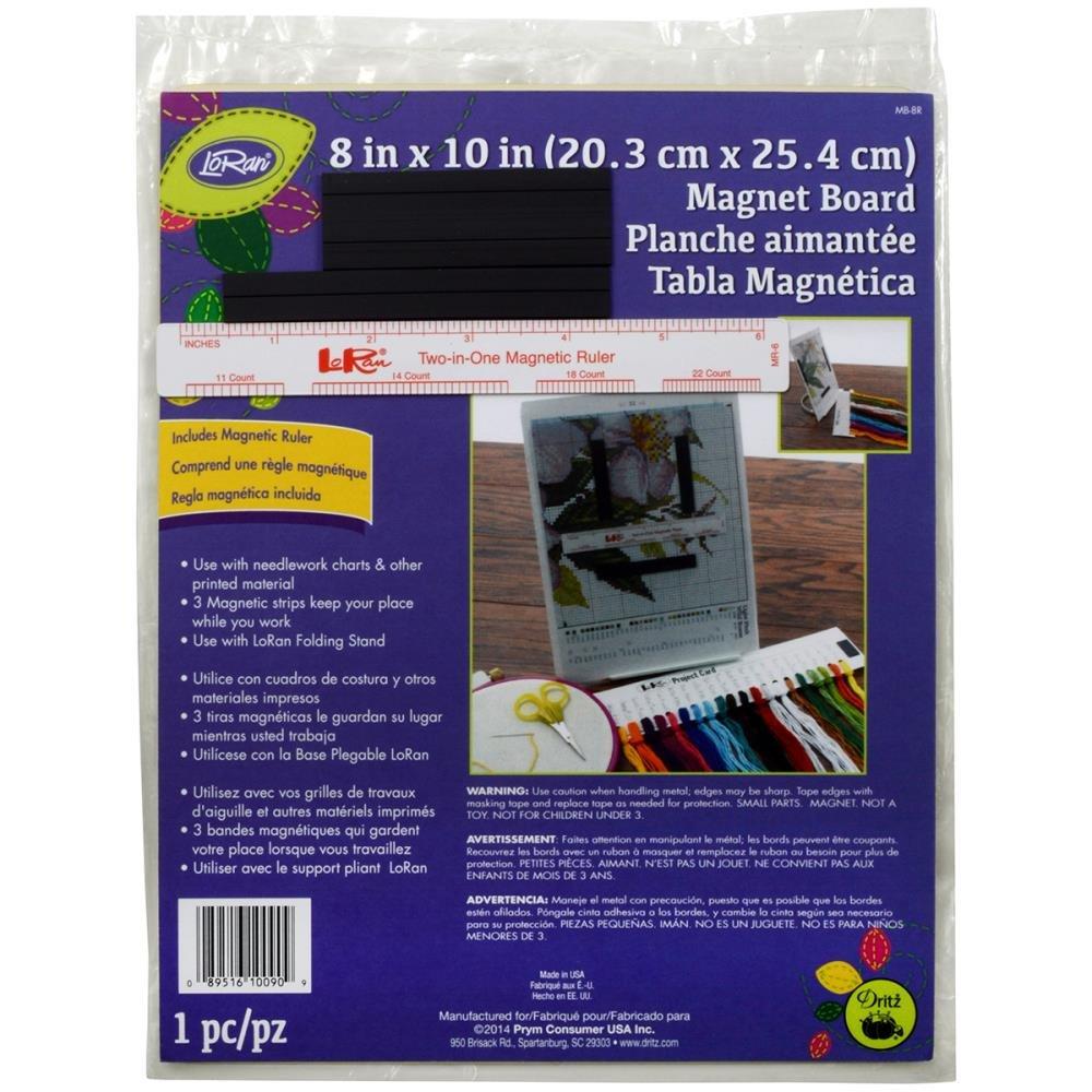 LoRan Magnet Board 8 in X 10 in & 6 in Ruler