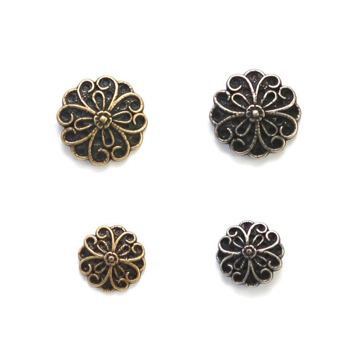 Heart Flower Petal Metal Button
