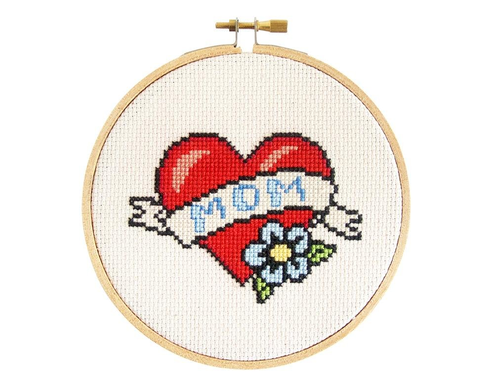 Mom Tattoo Cross Stitch Kit