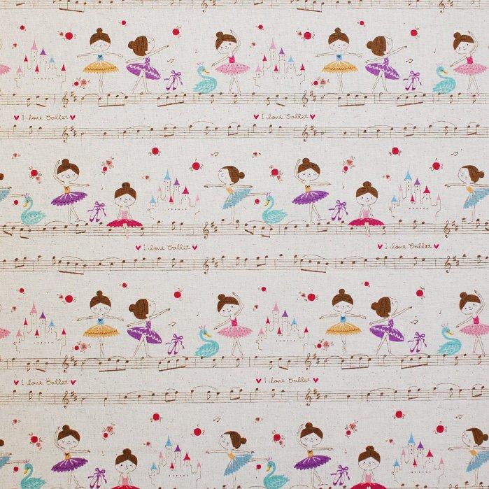 Musical Ballerinas - Kokka Cotton/Linen Canvas Fabric; 43 inches wide - Seven Islands