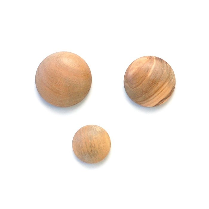 Convex Olive Wood Button