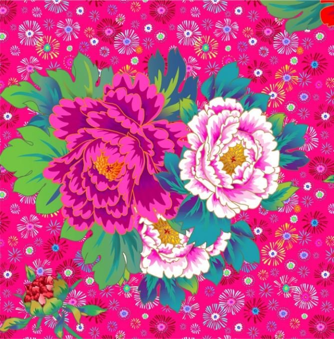 Odile Bailloeul Velvet Panel 1m x 54 - Peonies & Cosmos Pink - Sold by the Panel
