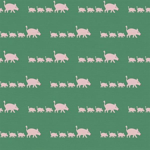 Pink Pigs on Green - Paintbrush Studios