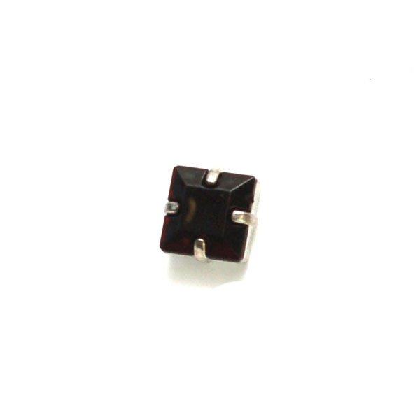 Faux Square Gem with Metallic Accents Plastic Button