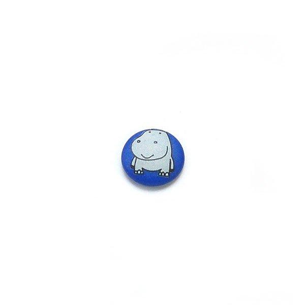 Gray Hippo Plastic Button