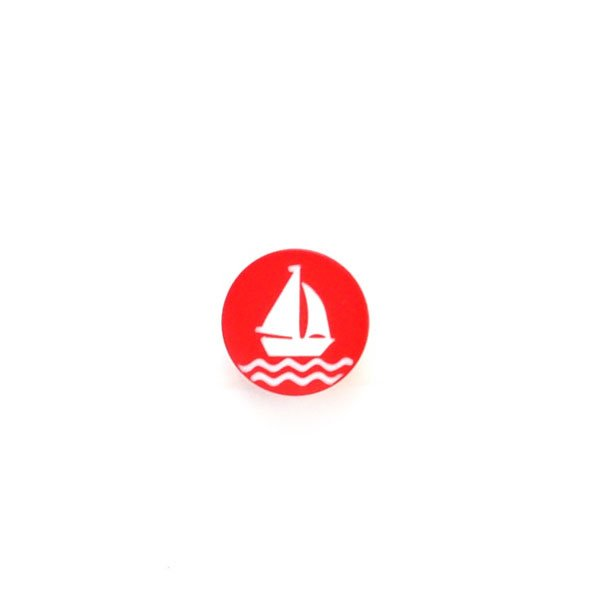 White Sailboat Plastic Button