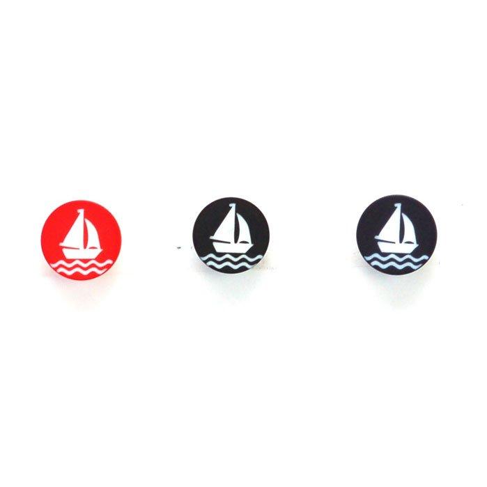 White Sailboat Plastic Button