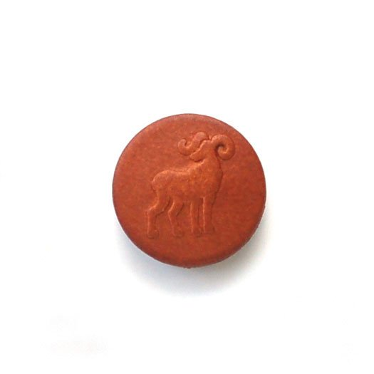 Embossed Ram Leather Buttons
