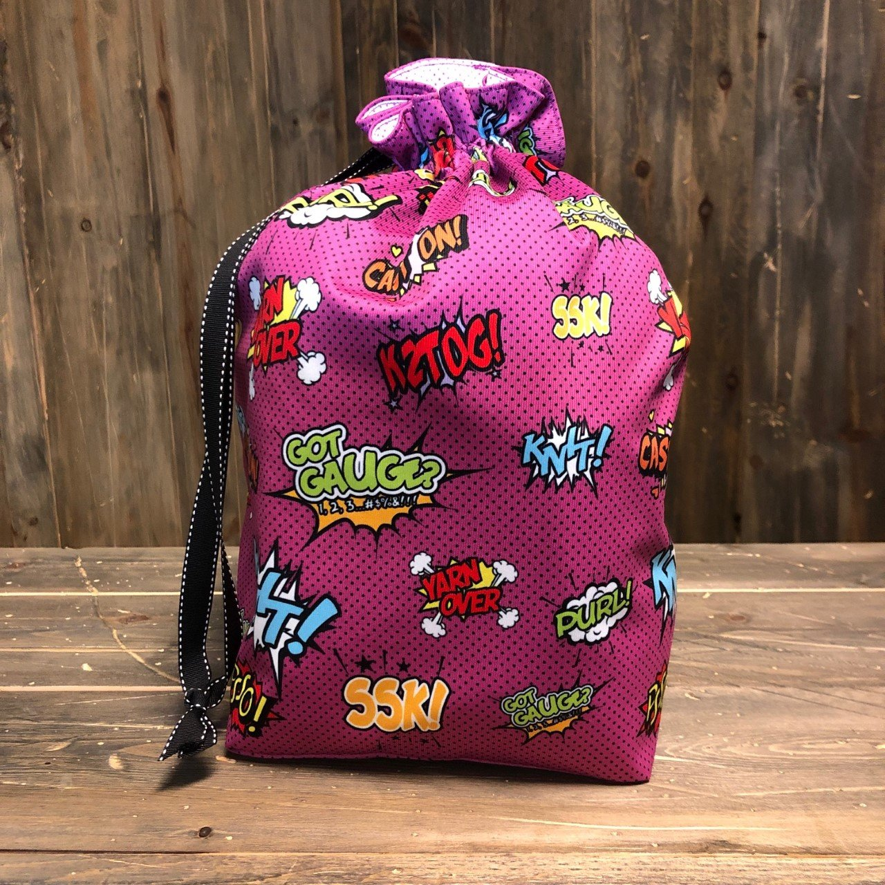 Raspberry Comical Knitters  - Makers' Exclusive Project Bag