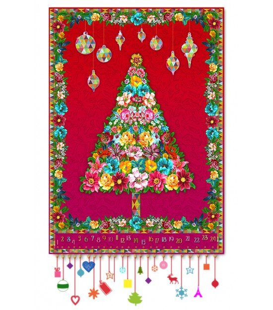 Odile Bailloeul Holiday Tree Velvet Panel in Red