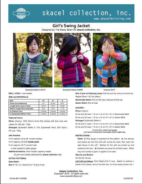 Girls Swing Jacket Pattern