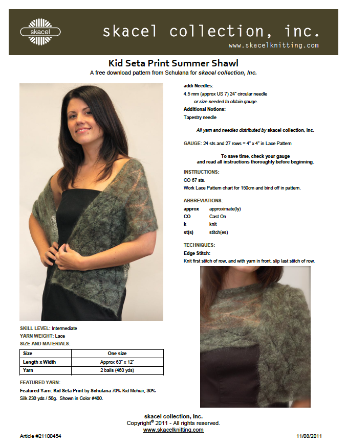 Summer Shawl - Kid Seta Print Pattern Download
