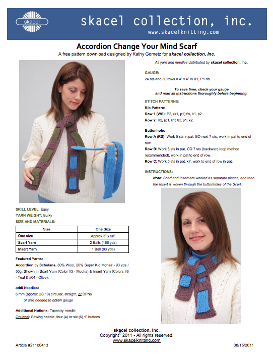 Accordion Change Your Mind Scarf - Pattern Download