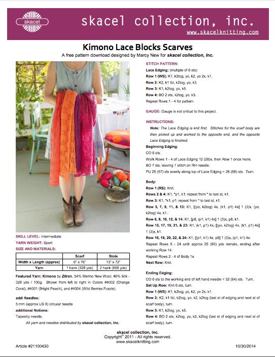 Lace Block Scarf - Skacel - Free Pattern Download