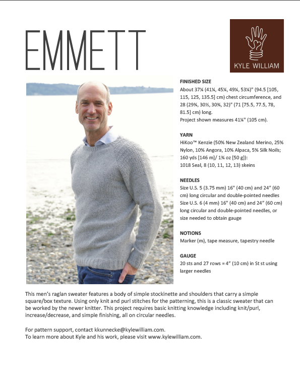 Emmett Raglan Sweater Knitting Pattern - Kyle William - PDF Download