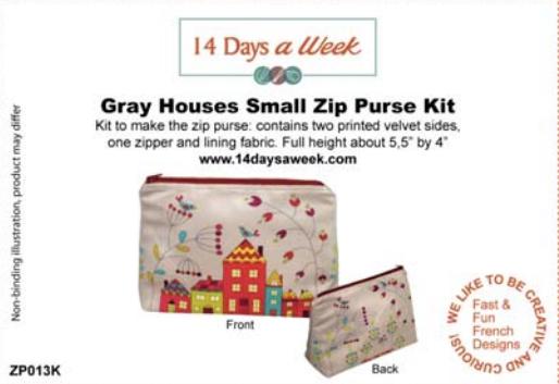 14 Days a Week Soft Velveteen Small Zip Bag Kit - Gray Houses