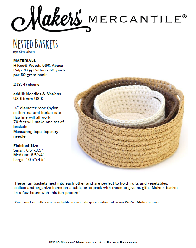 Crochet Nested Baskets pattern download