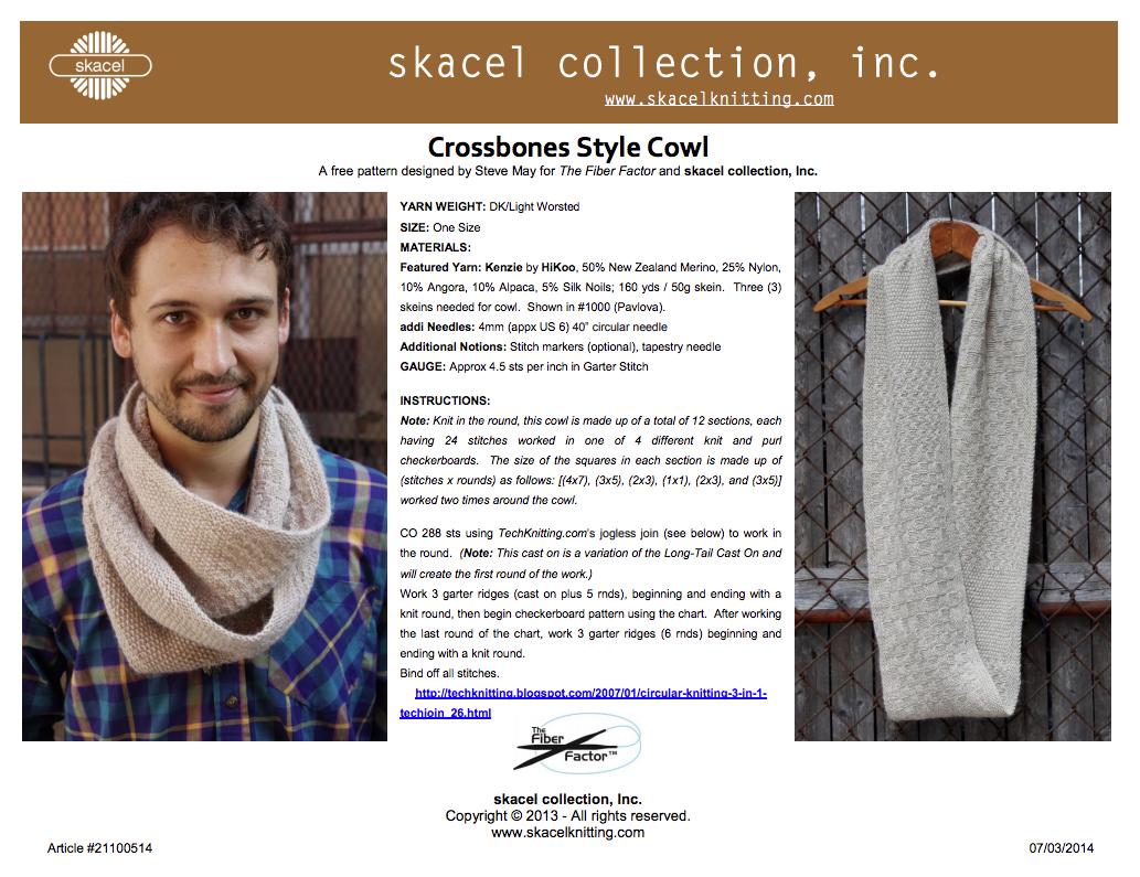 Crossbones Style Cowl - free pattern PDF download