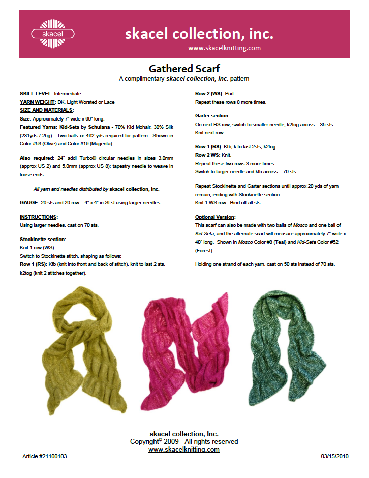 Gathered Scarf Pattern - free PDF Download
