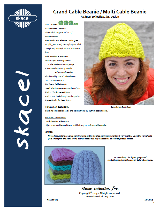 Grand Cable Beanie PDF Pattern