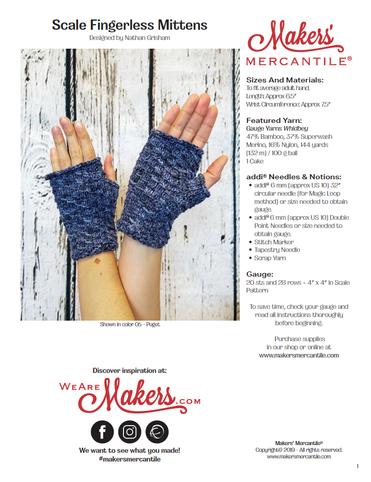 Scale Fingerless Mitts - free .PDF Pattern Download