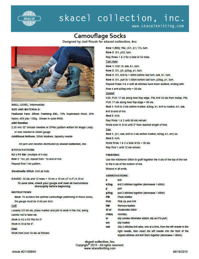 Camouflage Socks - free .pdf pattern download