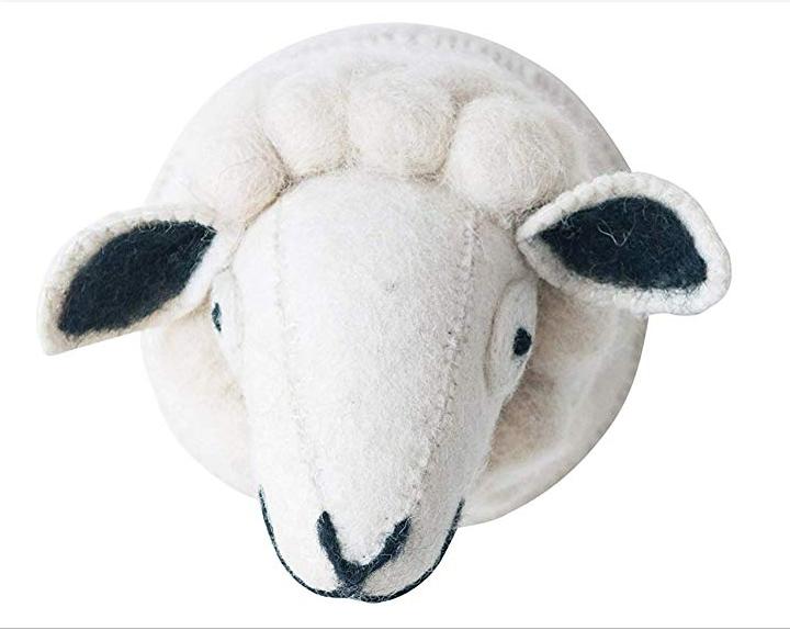 Wool Felt Sheep Head Wall Decor