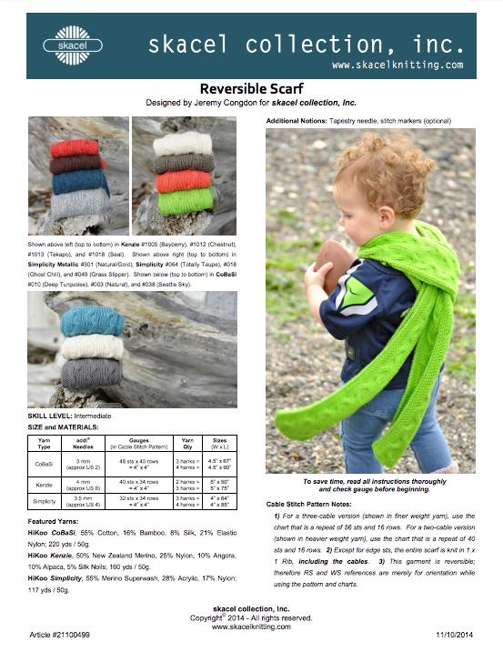 Reversible Scarf - free .pdf pattern download