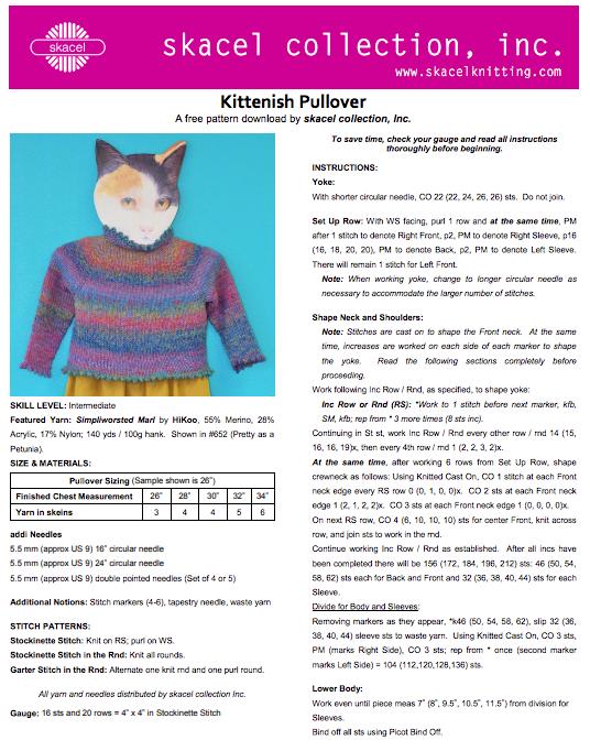 Kittenish Pullover - free .pdf pattern