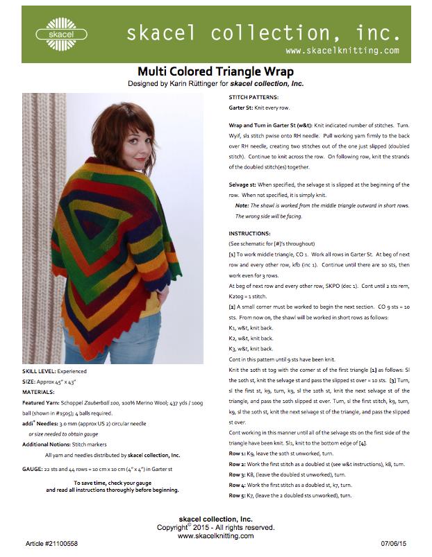 Multi Colored Triangle Wrap  - free .pdf pattern download