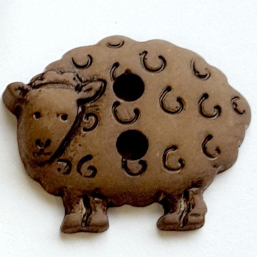 skacel Buttons - Plastic Brown Sheep; 2 holes