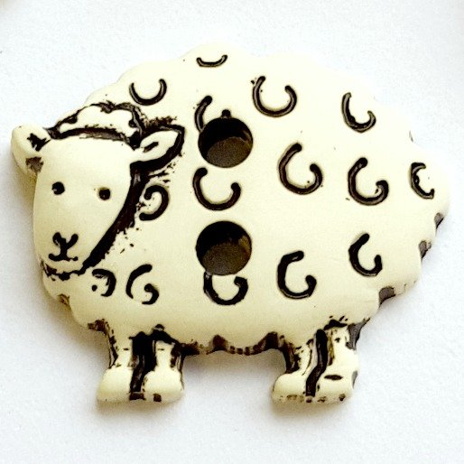 skacel Buttons - Plastic Natural Sheep; 2 holes