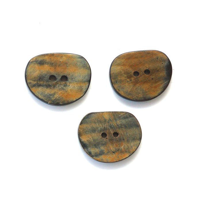 Black & Brown Oval Horn Button