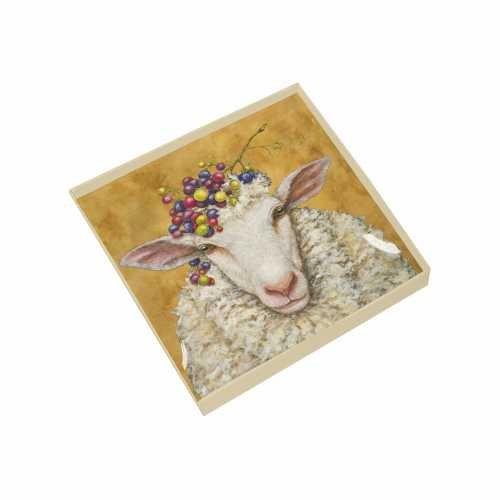 Gift Boxed Square Glass Plate - Vineyard Sheep - PPD