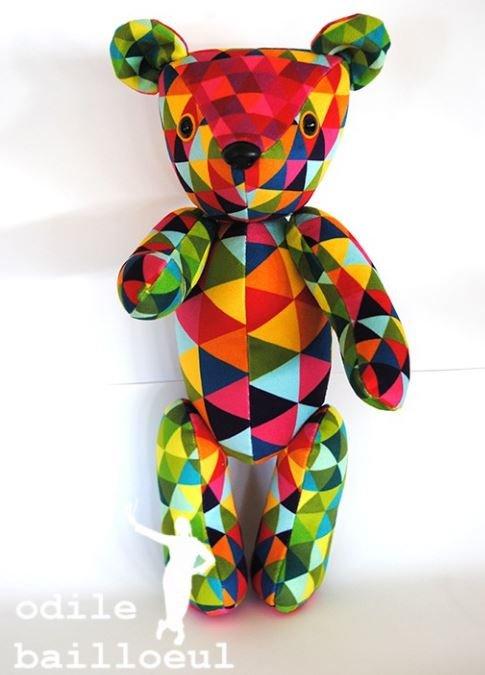Odile Bailloeul Velvet Teddy Bear Sewing Kit - Harlequin
