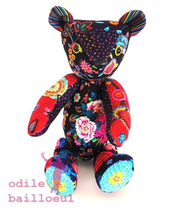 Odile Bailloeul Velvet Teddy Bear Sewing Kit - Patch