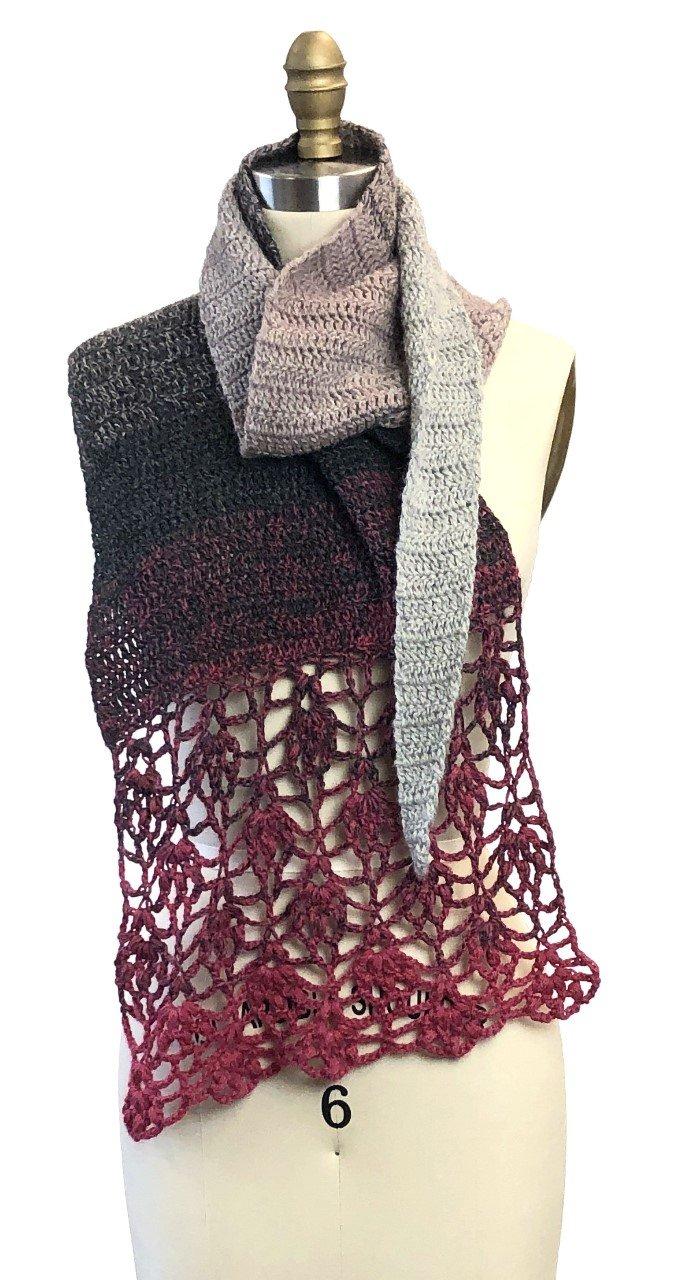 Starting to Bloom shawl - crochet pattern .pdf download